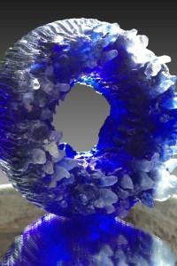 ca. 350x350x20012kg, Artista weiß und 3 Blautöne, geschliffen.partiell poliert 2015